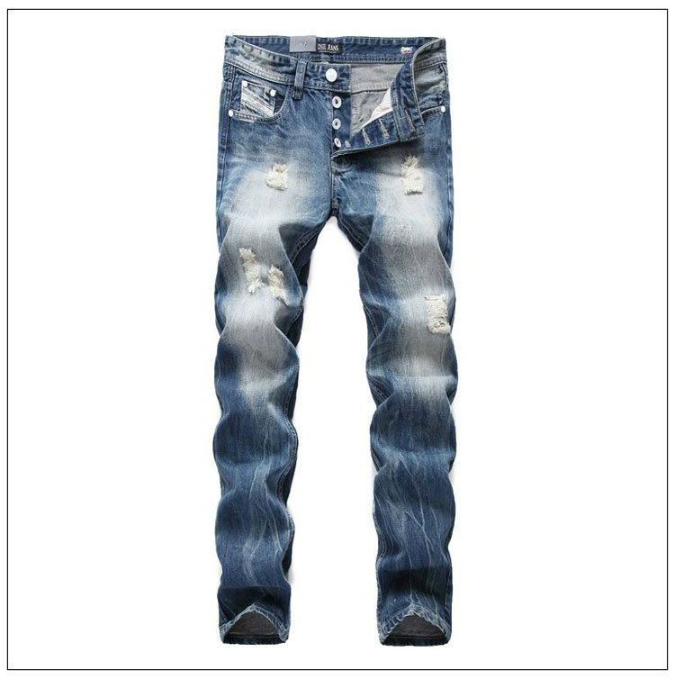 Free Shipping Brand Fashion Design Biker Jeans Men Straight Slim Denim Pocket Mens Jeans With Holes Men Ripped Jeans Plus Size 2017 fashion patch jeans men slim straight denim jeans ripped trousers new famous brand biker jeans logo mens zipper jeans 604
