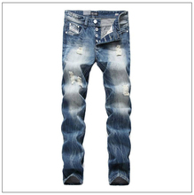 Free Shipping Brand Fashion Design Biker Jeans Men Straight Slim Denim Pocket Mens Jeans With Holes
