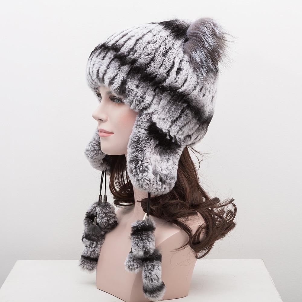 ФОТО Knitted Hat 2017 Winter Rabbit Fur Beanies Headgear Women Fox Fur Luxury Ball Flower Cap Women's Customized Hat Beanie