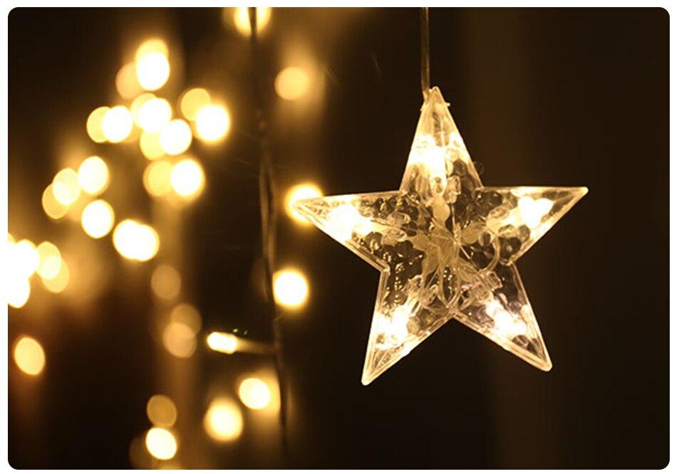 220V LED Holiday String New Year Pentagram Star Curtain Light Fairy Wedding Birthday Christmas Lighting Indoor Decoration Light (10)