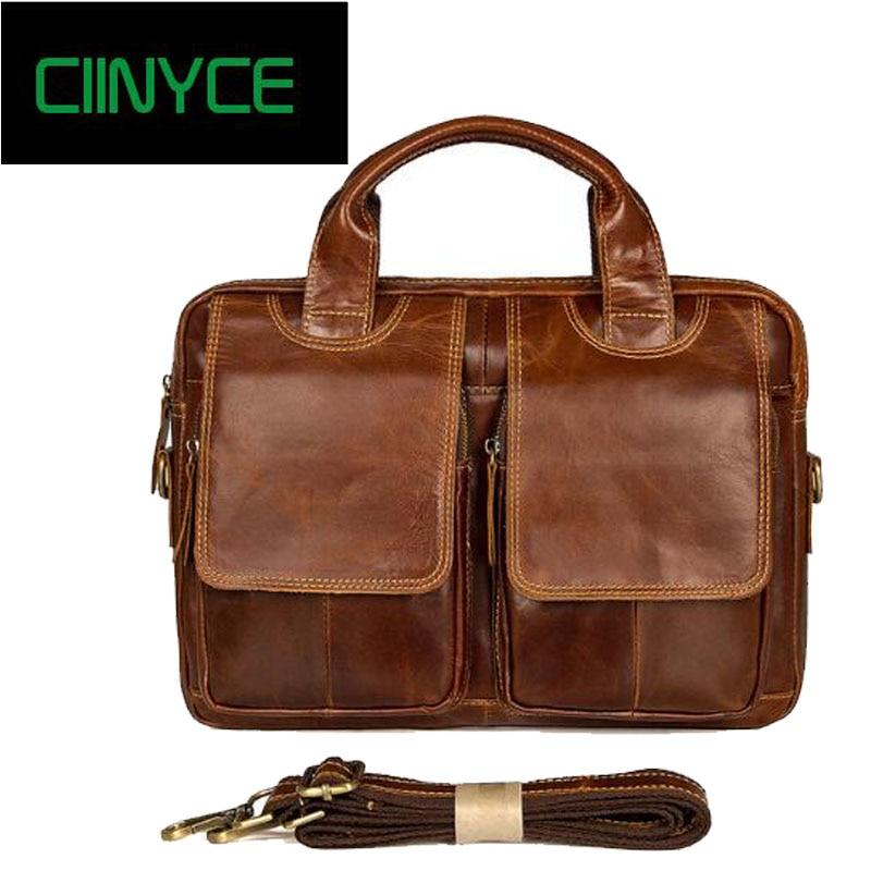 Crazy Horse Genuine Leather Men Briefcase Messenger Laptop Bag Men Briefcase Business Travel Casual Shoulder Handbags все цены