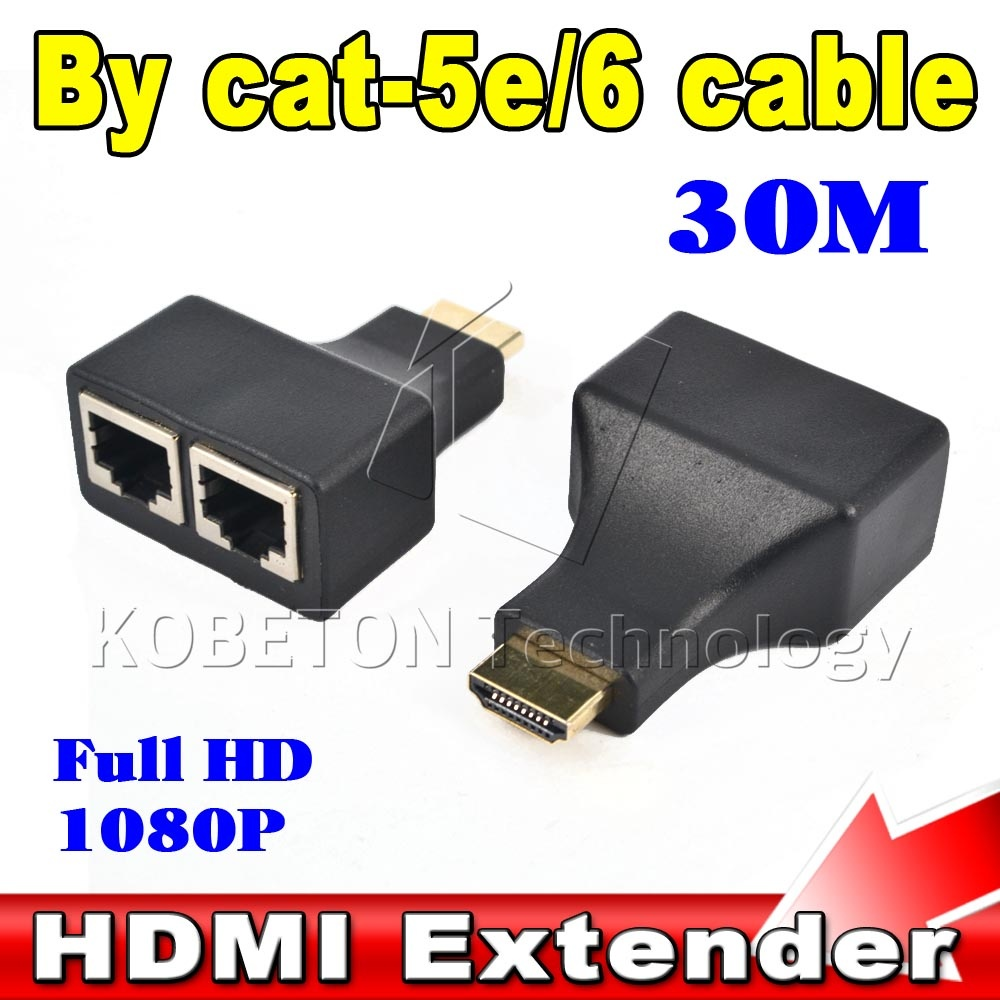 New 2PCS/set HDMI To Dual Ports RJ45 Network Cable Extender Over by Cat5e/Cat6 Cables 1080p For HDTV HDPC PS3 STB 30m hdmi extender rj45