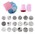 24Pcs Nail Stamping Plates Polish Stencils For Nails 1 Pink Case For 5.7 Disc Template Scraper Stamp Nail Art Set Kits TMOW005