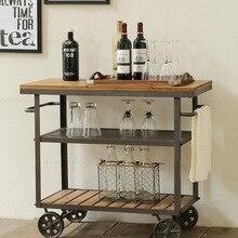 Американская железная деревянная Закусочная Модная креативная тележка для напитков передвижная маленькая столовая Изысканная столовая винный шкаф