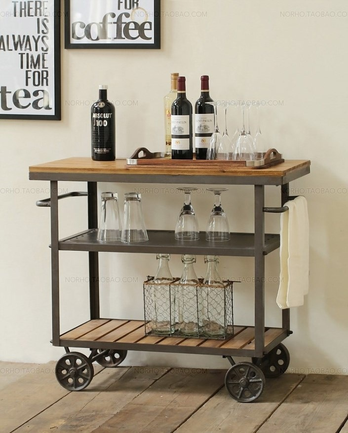 American Iron Wood diner fashion creative drinks trolley moving small diner fine dining Wine cabinet