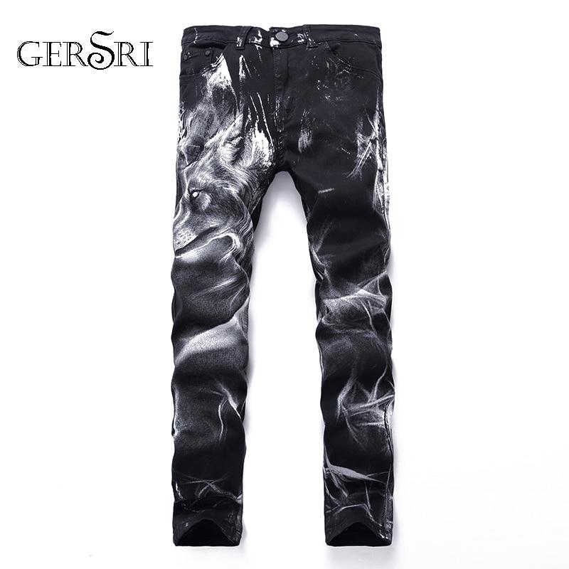 Gersri New Men Jeans Patchwork Retro Pants Lion Pattern Cool Pants Slim Classic Denim Personality Design Trousers Big Plus Size
