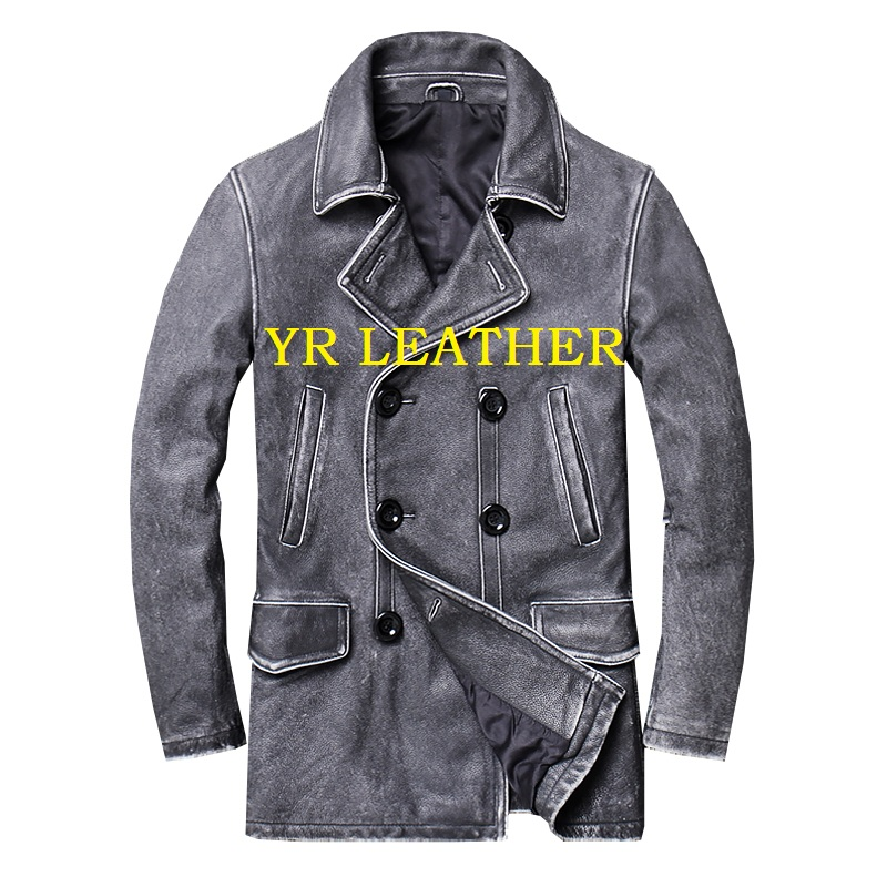 YR!Free Shipping.classic Gray Long Casual Leather Jacket,mens Vintage Slim Genuine Leather Coat.plus Size,cowhide Overcoat