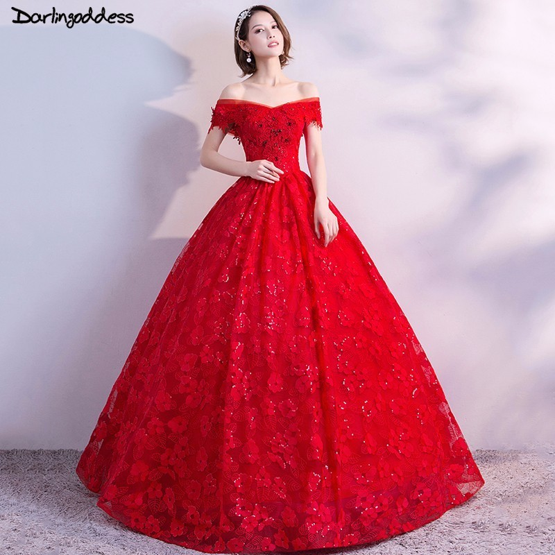 34006bb1cbac Detail Feedback Questions about Luxury Ball Gown Red Wedding Dresses 2018  Plus Size Beaded Lace Up Princess Wedding Dress Real Photo Vestido De Noiva  ...