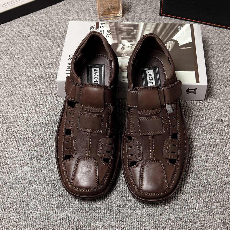 صنادل رجالية من jackميلر أحذية صيفية مريحة تسمح بمرور الهواء كاجوال خفيفة للغاية لون بني ماركة لاين صندل للرجال أحذية بخطاف وحلقة سهلة الارتداء