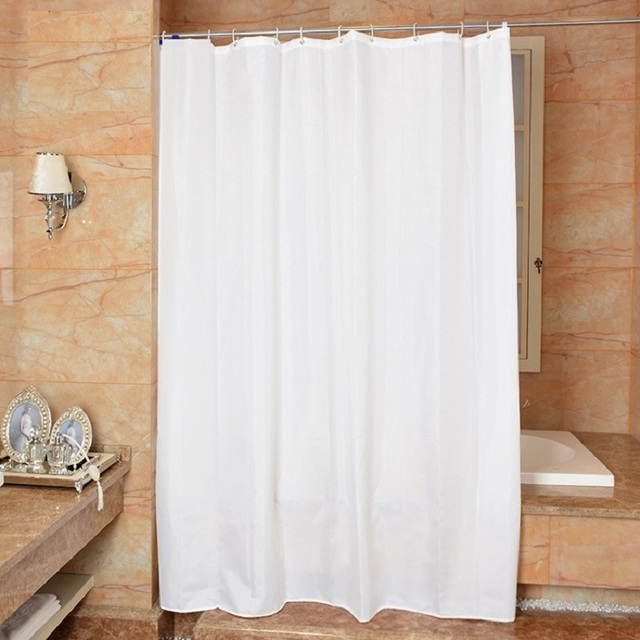 White Shower Curtain Modern Simple Fabric Shower Curtains Waterproof