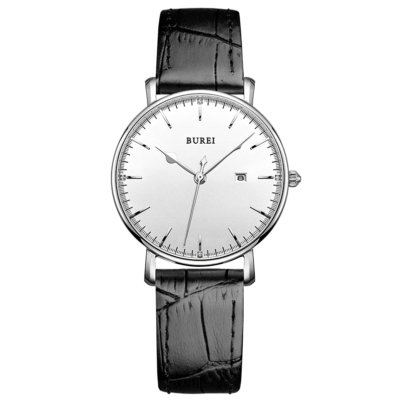 BUREI 13002 Unisex Ultra-thin Classic Date Analog Watch with Black Calfskin Leather Band, White Dial relogio masculino feminino