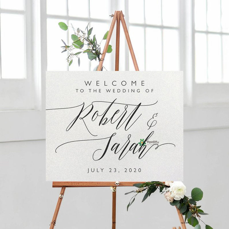 Wedding Sign Decor Welcome toThe Wedding Decal Vinyl Personalised Name Mural Wedding Sign Ceremony Wedding Wall Sticker DIYZW412(China)