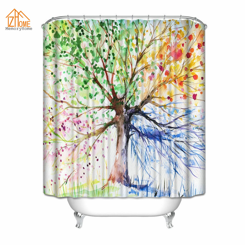 Memory Home Four Seasons Spring Tree of Life Spring Summer Fall Winter Blue  Pink Orange Green Shower Curtain Fabric Polyester - Online Get Cheap Seasonal Shower Curtains -Aliexpress.com