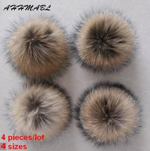 4pcs/Lot DIY Genuine Real Raccoon Fur Pompom Fur Pom Poms for Women Kids Beanie Hats Caps Big Size Natural Ball 10/12/14/16CM
