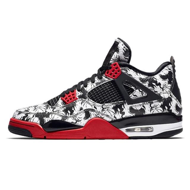 online retailer 3e63d 71713 US $68.92 49% OFF|JORDAN Retro Tattoo 4 Basketball Shoes Singles Day men  Pure Money Raptors Bred Fire Red Travis Scott Purple men Outdoor Sneaker-in  ...