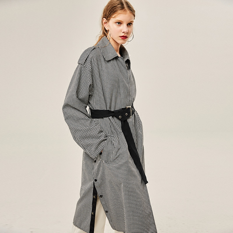 FS010 New Arrivals Autumn 2017 vintage casual x long oversized belted black and white houndstooth plaid trench coat women