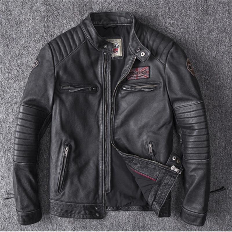 Hommes noir crâne broderie en cuir véritable manteaux moto veste 4XL nouveau vêtement couche supérieure peau de vache cuir dermique vêtement
