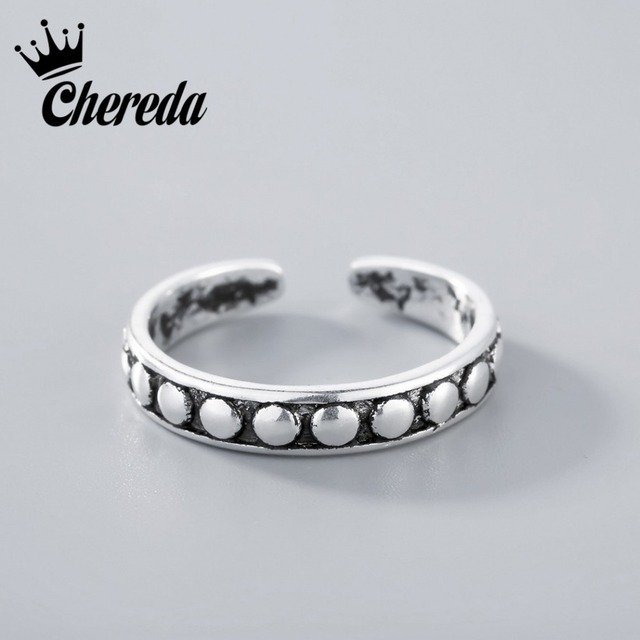 Chereda Silver Adjustable Stacking Midi Ring Toe Knuckle Top Finger for Men Wome
