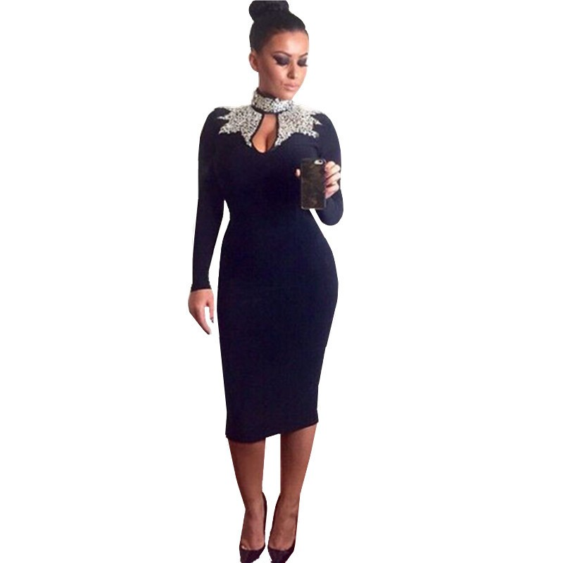 b8962dd3bb80 Women Vintage Navy Silver/Black Gold Sequins Mock Neck Midi Dress 6908  Vestido Plus Size Elegant Long Sleeve Bodycon Dresses-in Dresses from  Women's ...