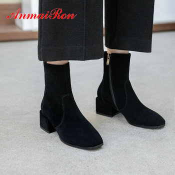ANMAIRON 2019 Winter Boots Women Basic Women Boots Round Toe Ankle Boots Kid Suede Square Heel Winter Shoes Women Size 34-39