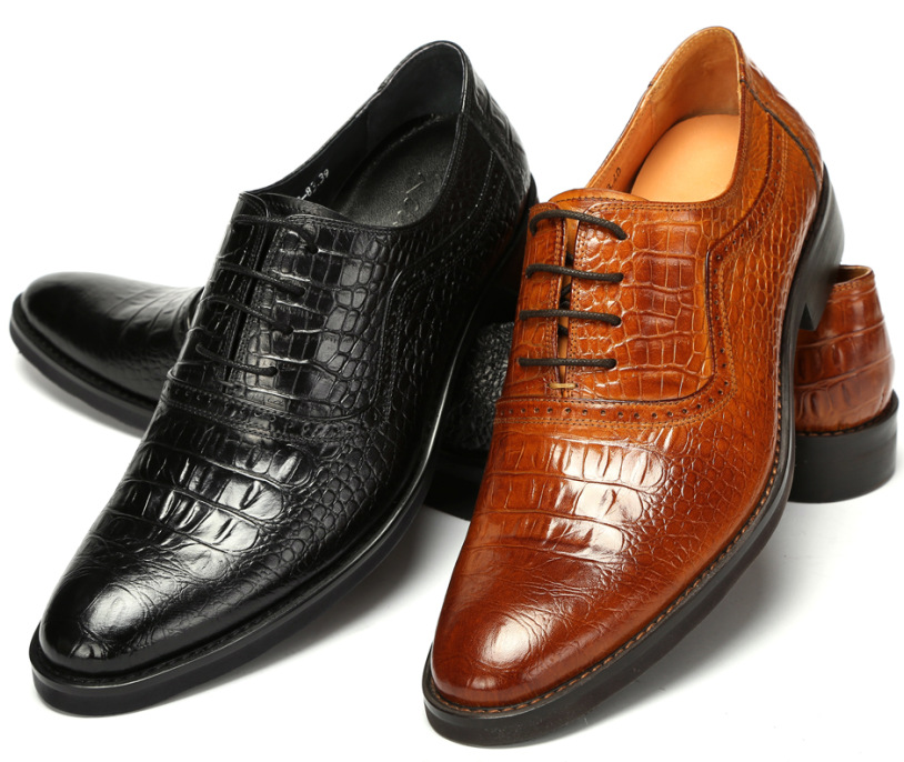 Large size EUR 47 brown / black oxfords shoes mens business shoes genuine leather office shoes mens dress shoes for wedding top quality crocodile grain black oxfords mens dress shoes genuine leather business shoes mens formal wedding shoes