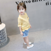 2 Pcs/set Baby Girls Summer Clothing Small Cute Korean Lace Short-sleeved Denim Shorts Children\s Cloth Set
