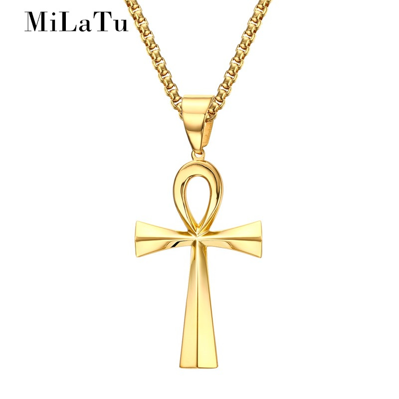 Egyptian Ankh Crux Ansata Cross Pendant Necklace Stainless Steel Jewelry Gift