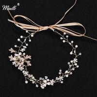 Miallo Headband Fashion Woman Tiaras Handmade Pearl Bridal Wedding Party Crystal Rhinestone Hair Vine Crown Hair