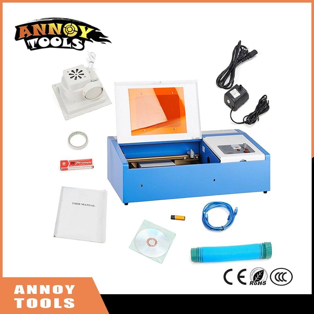 Лазерная гравировка машины 40 Вт CO2 лазерный гравер 300x200 мм лазерной резки с Вытяжной вентилятор USB Порты и разъёмы
