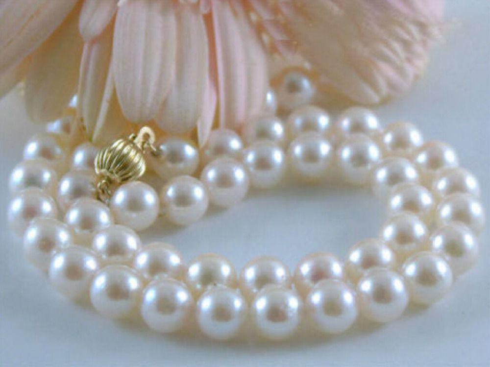 charming AAA 10-11mm AKOYA White natural Pearl Necklace 18 >Selling jewerly free shipping