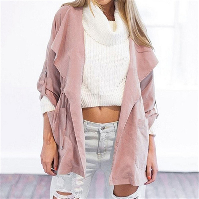 Spring Women's Casual Hooded Windbreaker Coat Turndown Collar Overcoat Outerwear Coat Solid Color   Trench   Belt Slim Tops Coat