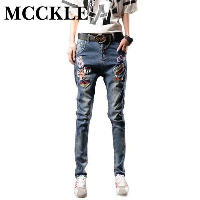MCCKLE New Style Fashion Brand Design Female Bleached Patches Harem Pants Denim Jeans Women Casual Mid Waist Full Length Jeans