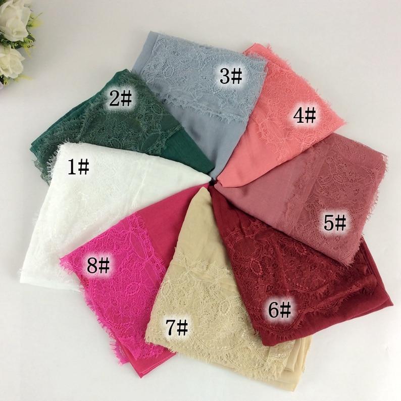 Obyčejný bavlněný krajkový šátek šály Muslimské dlouhé hidžábky Jarní šály / šátek Dámské šály Módní