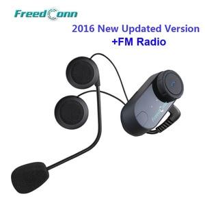 Image 4 - Freedconn motocicleta intercomunicador capacete bluetooth fone de ouvido T COM fm 2 pilotos bt interfone moto + microfone macio