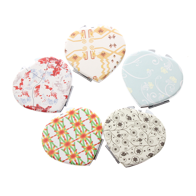 All Heart Shape 16 Different Patterns Set Portable Fold Porta Maquiagem Beauty Makeup Vanity Cosmetic Hand Compact Pocket Mirror