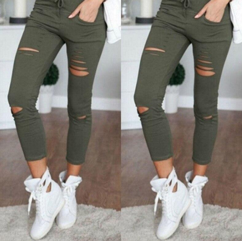 2019 Summer Women Skinny Cut Pencil Pants High Waist Stretch Jeans Trousers Casual Fashion Cotton Pants Slim Legging White Black 11