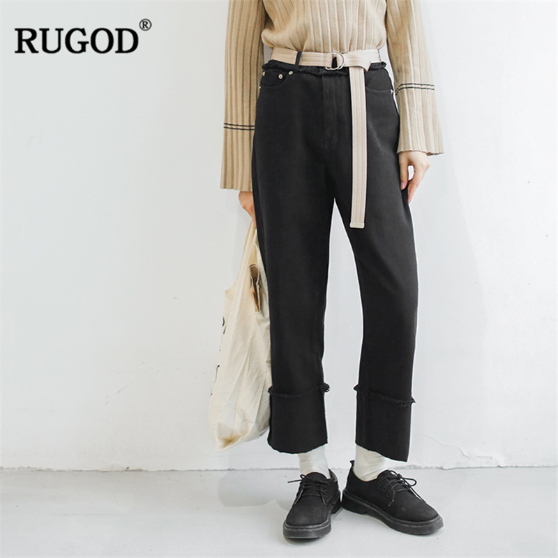 RUGOD Fashion Women   Wide     Leg     Pants   High Waist Solid   Pants   boyfriend jeans for women Loose Casual For Female pantalon femme