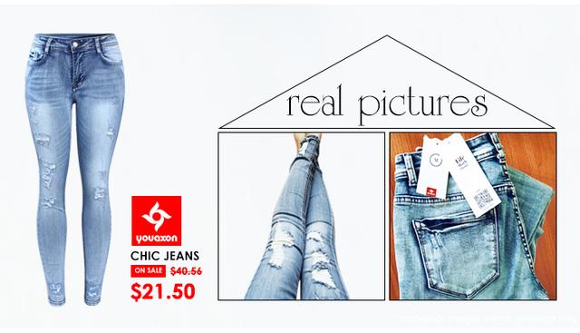 Classic Distressed Women Mid Waist Stretchy Ripped True Pants Skinny Pencil Elegant Denim Jeans