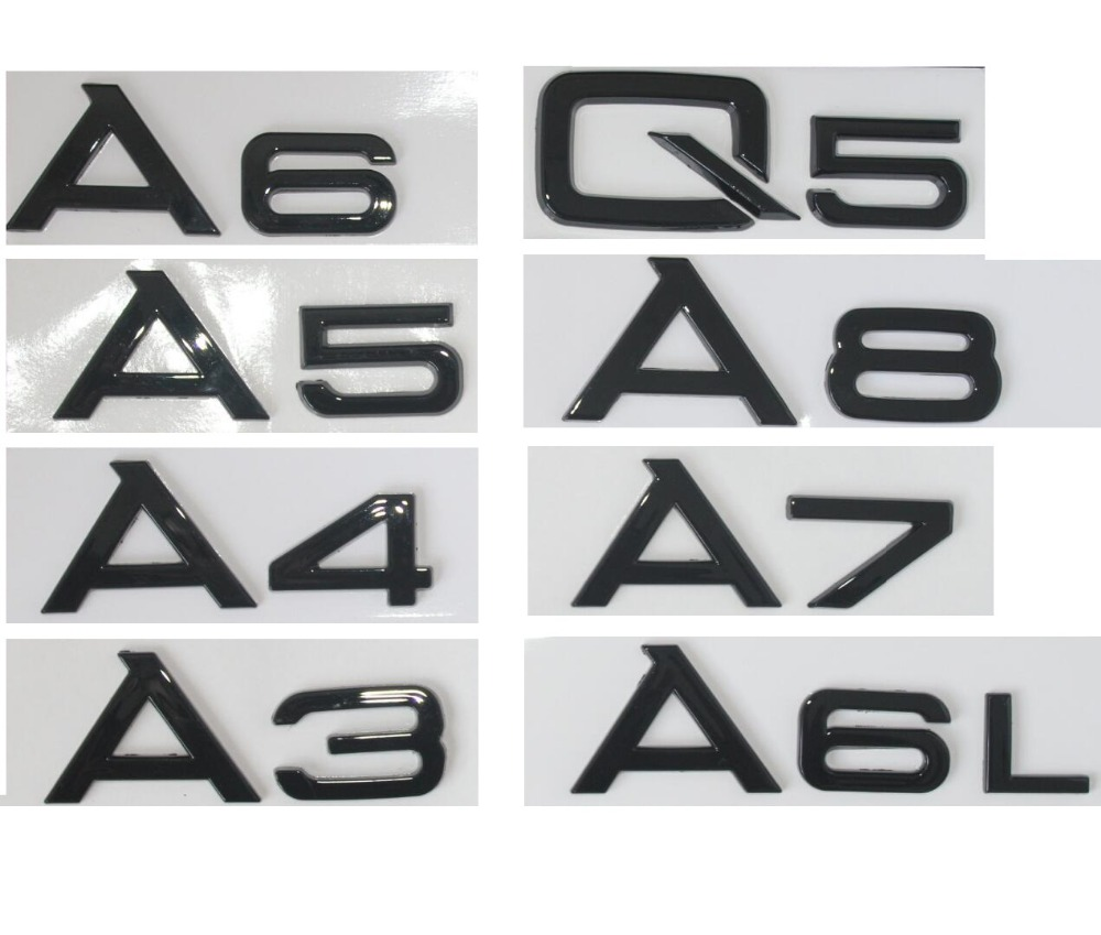 Gloss Black Rear Trunk Letters Number Emblems Emblem Badge Sticker for Audi A8