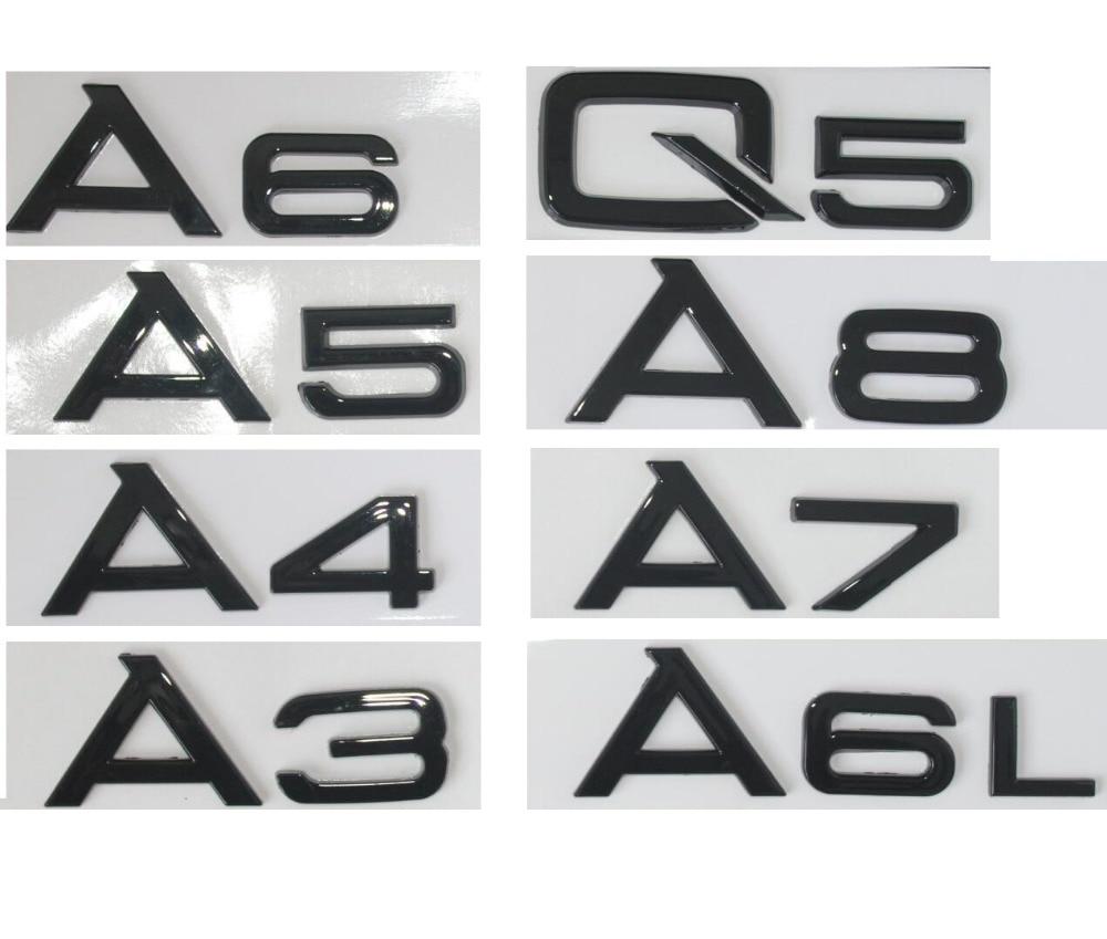 Glossy Gloss Black Rear Trunk Letters Number Badge Emblem Emblems for Audi A3 A4 A5 A6 A7 A8 A4L A6L A8L Q3 Q5 Q7 universal car styling logo emblem metal license plate frame bolt screw for audi s line a4 a4l a6 a5 a7 a8l q3 q5 s5 tt tts