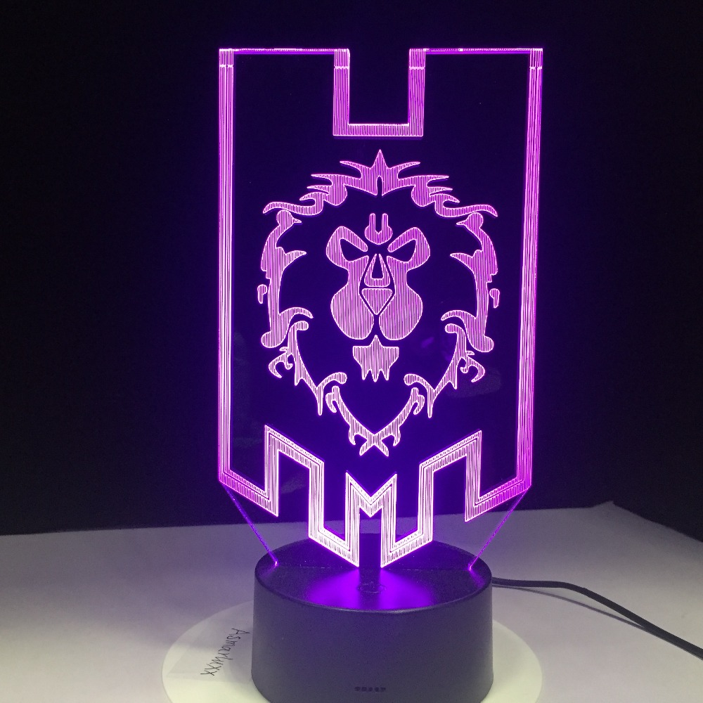 LED World of Warcraft 3D Lamp The Alliance Tribal Signs Over Watch Remote Control Night Light USB Table Lamp Children's Gift star wars millennium falcon 3d lamp led remote control night light usb decorative table lamp interesting gift hui yuan brand