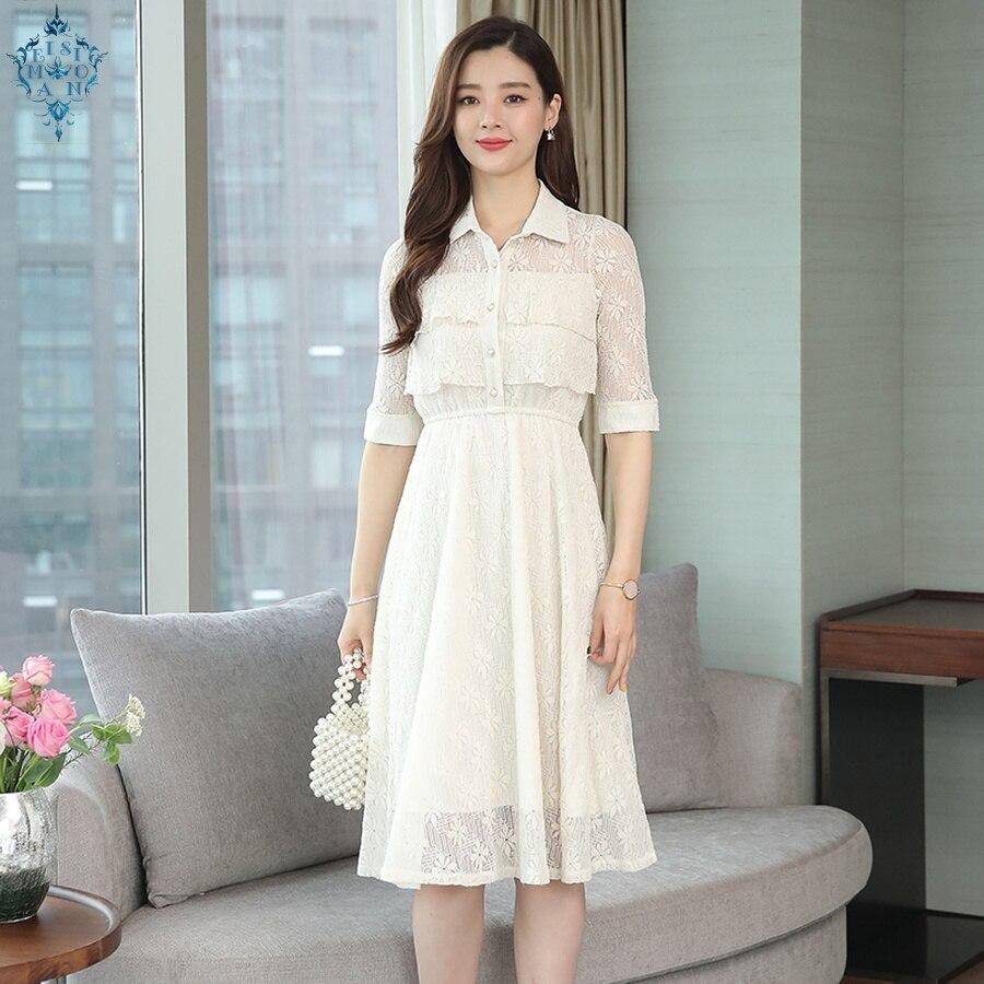 Ameision 2019 nouvelle solide grande taille Boho robe d'été Vintage dentelle plage Sexy Midi robe moulante élégante femmes fête robes