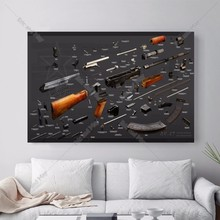 AK 47 Details Vintage Canvas Art Print Painting Poster Wall Picture For Living Room Home Decorative Bedroom Decor No Frame