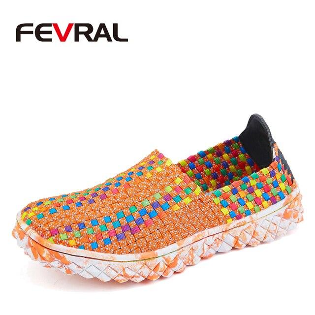 FEVRAL Marke Frau Multi Farben Weichen Freizeit Wohnungen Frau Hand woven Atmungsaktive Schuhe 2021 Mokassins Casual Frau Faulenzer