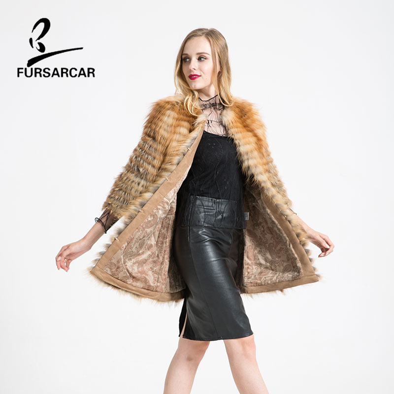 FURSARCAR 4 Styles Real Fur Rex Fox Fur Coat Winter Womens Long Coat And Long Sleeve Fashion Slim Fur Plus Size 5XL BF-C0300