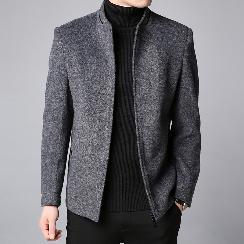 2019 Winter New Fashion Brand Coat Men Slim Fit Wool Peacoat Warm Jackets Wool Blends Overcoat Designer Casual Mens Clothes(China)