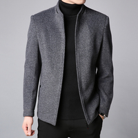 2018 Winter New Fashion Brand Coat Men Slim Fit Wool Peacoat Warm Jackets Wool Blends Overcoat Designer Casual Mens Clothes