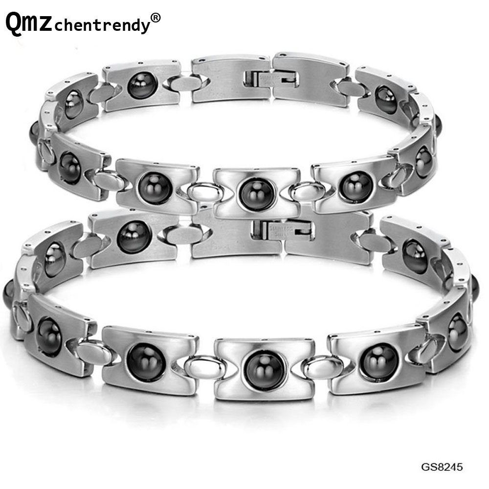 High Quality Energy Health Magnet Bracelet Anti Radiation Ceramic Stainless Steel Clasps Bracelets Hematite Fashion Jewelry Man