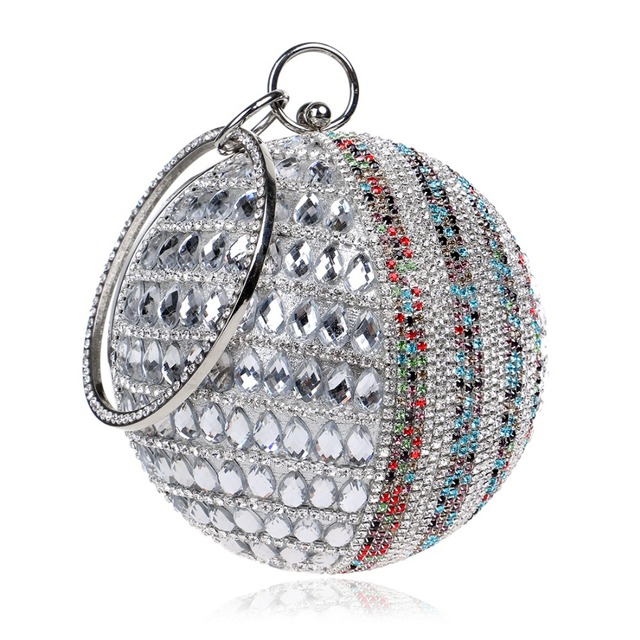 Women Evening bags Round Deisng With Handle Chain Shoulder Handbags Diamonds Small Day Clutches Evening Bags Rhinestones Purse