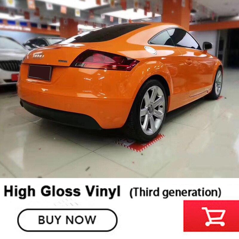 Super Gloss Gloss Orange Vinyl Wrap Glossy Film Car Wrapping Glossy Roll Waterproof Vinyl 1.52*20m Third generation High quality
